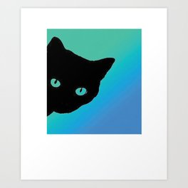 Black Cat Blue Green Art Print