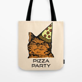 Pizza Party Cat: Funny Animal Kitty Tote Bag