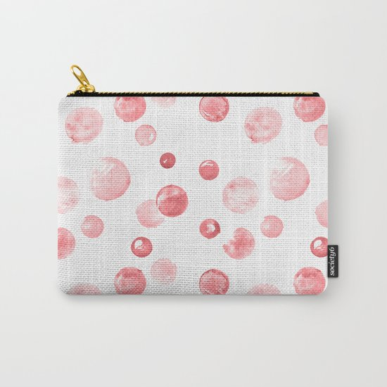 Wewak Pink Watercolors Polka Dots Carry-All Pouch