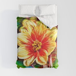 Dahlia Dreams | Abstract Oil Painting Comforters