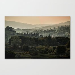 Foggy morning in Lake District Canvas Print