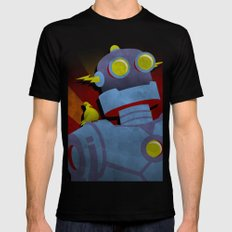 Retro Robot with Yellow Bird Mens Fitted Tee MEDIUM Black