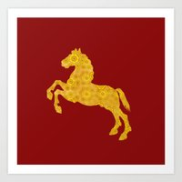 7 Petal Golden Lotus Horse For Chinese New Year of The Horse Art Print