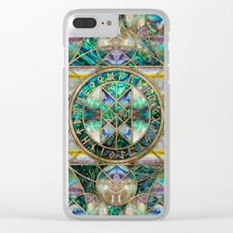 Web of Wyrd The Matrix of Fate -Abalone Shell Clear iPhone Case