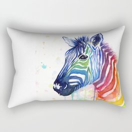 Zebra Watercolor Rainbow Animal Painting Ode to Fruit Stripes Rectangular Pillow