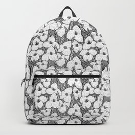 Puya Flowers Floral Pattern Greyscale Backpack
