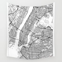 New York City Neutral Map Art Print Wall Tapestry