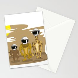 LION, MONKEY, GIRAFA WALKING TO THE MOON T-SHIRT Stationery Cards