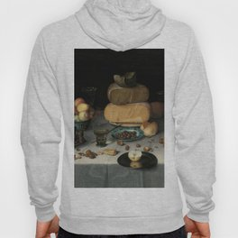 Still Life with Cheese, grapes, wine, bread and more. Finest art from the 17th century. Hoody