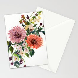 dahlia/foxglove/phlox in watercolor Stationery Cards