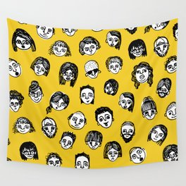 So Many People (Yellow) Pattern Print Wall Tapestry