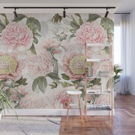 Vintage & Shabby Chic - Antique Pink Peony Flowers Garden Wall Mural