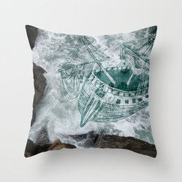 Shipwreck in the Pacific Throw Pillow