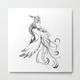 Phoenix - Black & White Metal Print