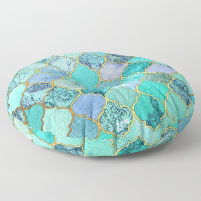 Cool Jade & Icy Mint Decorative Moroccan Tile Pattern Floor Pillow