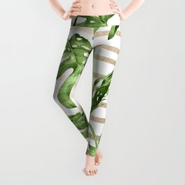 Simply Tropical White Gold Sands Stripes and Palm Leaves Leggings