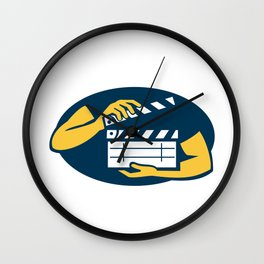 Hand Holding Movie Clapboard Oval Retro Wall Clock