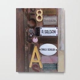 Italien Name Plates Metal Print