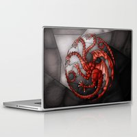 daenerys targaryen Laptop & iPad Skins featuring House Targaryen Stained Glass by itsamoose