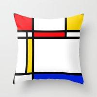 mondrian Throw Pillows featuring Mondrian by The Wellington Boot
