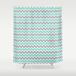 Aqua Turquoise Blue and Grey Gray Chevron Shower Curtain