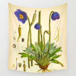 Purple Flowers Vintage Botanical Illustration Scientific Species Drawing Wall Tapestry
