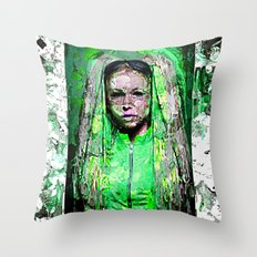 Girl In Green Throw Pillow