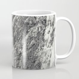 Forest road in snow mountain scenery in winter time Coffee Mug