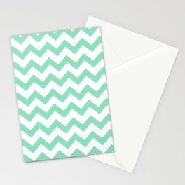 Chevron (Mint & White Pattern) Stationery Cards