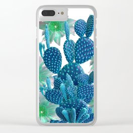 SURREAL BLUE PEAR CACTUS & FLOWERS DESERT ART Clear iPhone Case