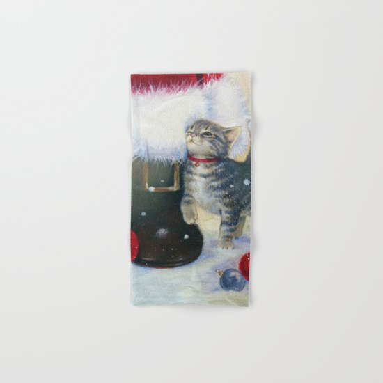 Kitten at Santa's Boot Hand & Bath Towel