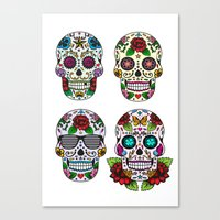 sugar skulls Canvas Prints featuring Sugar skulls by very giorgious