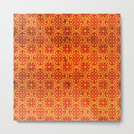 Orange Geometric Traditional Moroccan Pattern Artwork. Metal Print