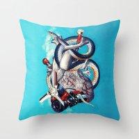 illuminati Throw Pillows featuring Heart of Illuminati by Eugenia Loli