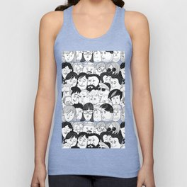 Colorful People Faces Pattern Unisex Tank Top