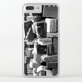 TOWER OF LUGGAGE in Black & White Clear iPhone Case