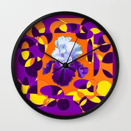 Colorful Moden Purple White Iris Orange Yellow Black Design Wall Clock