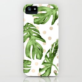 Simply Tropical White Gold Sands Dots and Palm Leaves iPhone Case