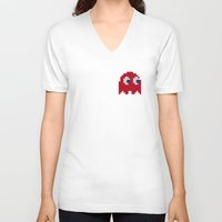 pac man V-neck T-shirts featuring Pac-Man Red Ghost by Psocy Shop