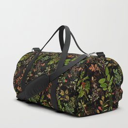 Vintage & Shabby Chic - vintage botanical wildflowers and berries on black Duffle Bag