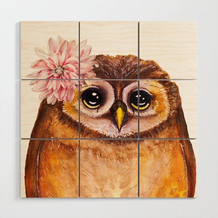 Rosalie, the baby owl Wood Wall Art