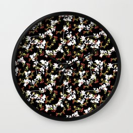 Dark Chinoiserie Floral Collage Pattern Wall Clock