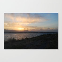 Dark Sunset on Lake Canvas Print