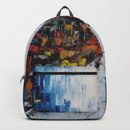 City of Reflections, NYC art, abstract city, city scape, colorful city Backpack