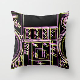 Turntable and Mixer illustration - sketch / drawing Throw Pillow