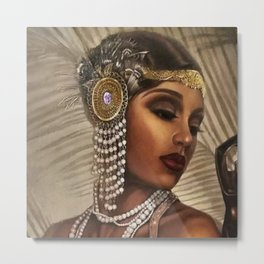 African American Masterpiece 'Cotton Club Flapper Dance Girl' Portrait Painting Metal Print