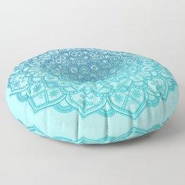 Mandala Seafoam Blue Aqua Ombre Bohemian Embellishments Floor Pillow
