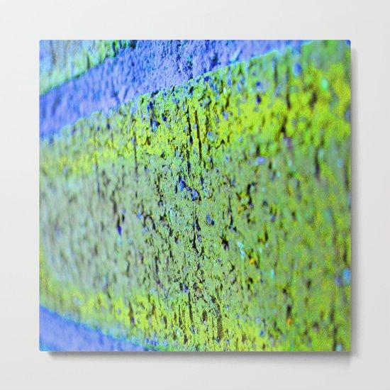 Neon Blue Brick Abstract Metal Print