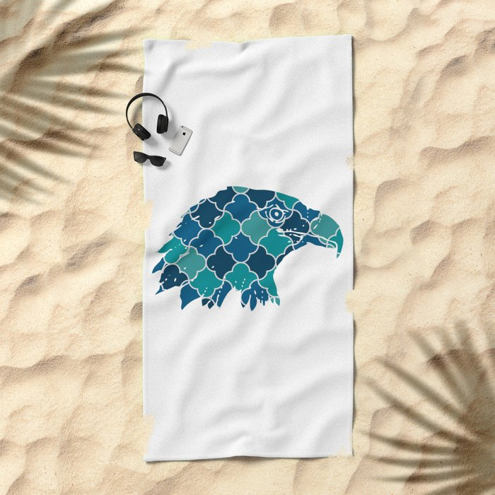 EAGLE SILHOUETTE HEAD WITH PATTERN Beach Towel