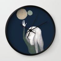 murakami Wall Clocks featuring two moons by martina troise